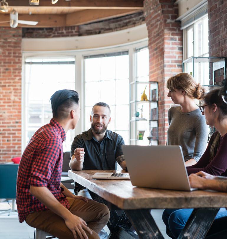 Coworkers meeting